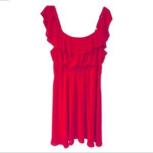 Torrid Red Sheer Midi Skater dress.